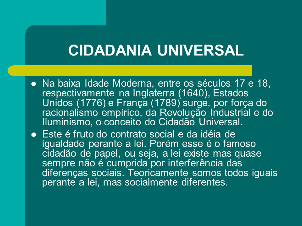 CIDADANIA UNIVERSAL