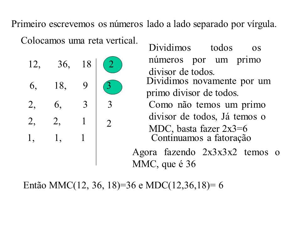 Primeiro escrevemos os números lado a lado separado por vírgula.