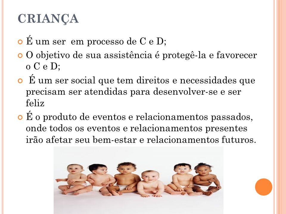 CRIANÇA É um ser em processo de C e D;