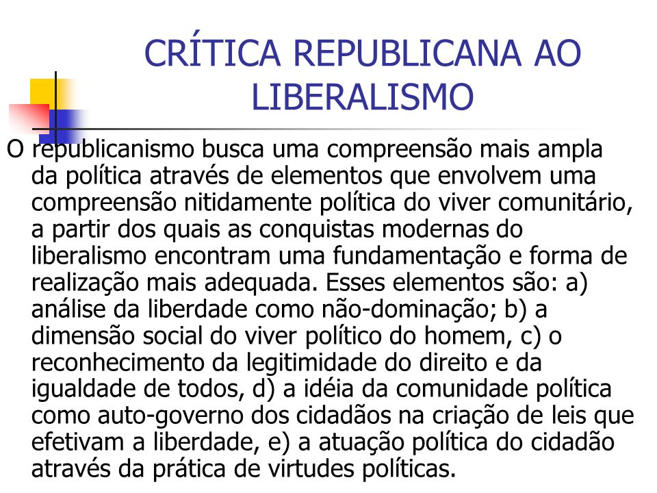 CRÍTICA REPUBLICANA AO LIBERALISMO