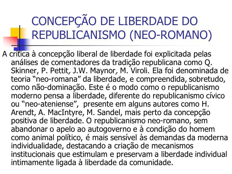 CONCEPÇÃO DE LIBERDADE DO REPUBLICANISMO (NEO-ROMANO)