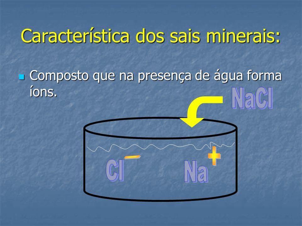 Característica dos sais minerais: