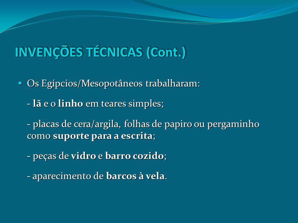 INVENÇÕES TÉCNICAS (Cont.)