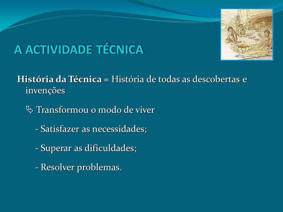 A ACTIVIDADE TÉCNICA História da Técnica = História de todas as descobertas e invenções.  Transformou o modo de viver.