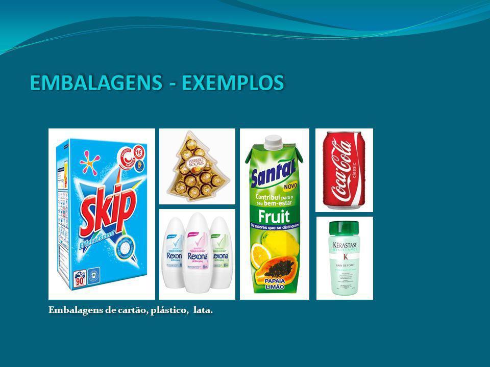 EMBALAGENS - EXEMPLOS Embalagens de cartão, plástico, lata.