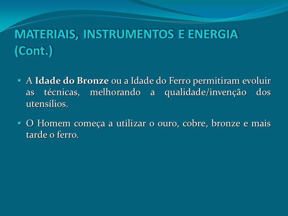 MATERIAIS, INSTRUMENTOS E ENERGIA (Cont.)