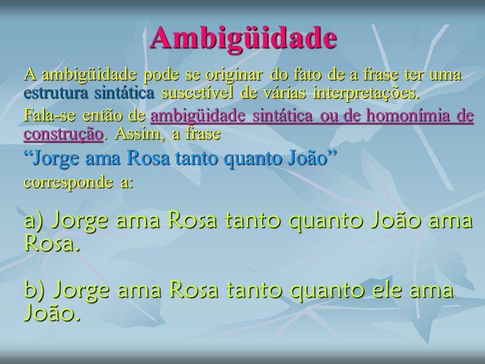 Ambigüidade Jorge ama Rosa tanto quanto João