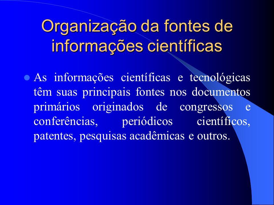 Organização da fontes de informações científicas