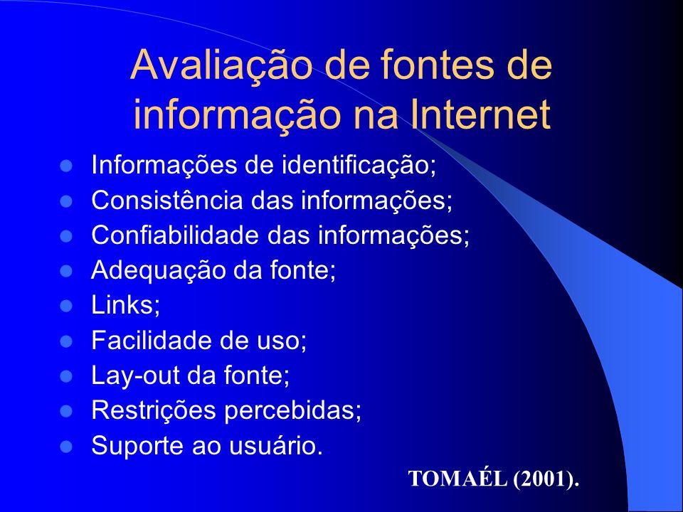 Avaliação de fontes de informação na Internet