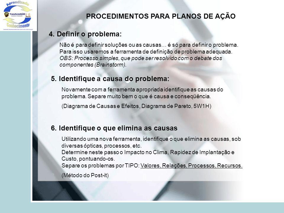 PROCEDIMENTOS PARA PLANOS DE AÇÃO