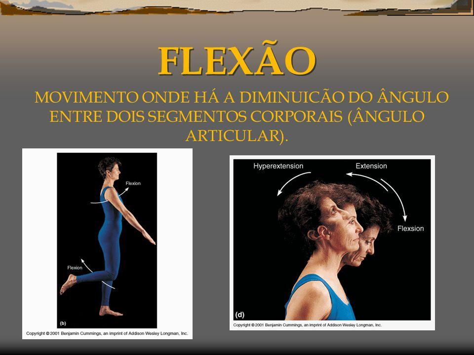 FLEXÃO MOVIMENTO ONDE HÁ A DIMINUICÃO DO ÂNGULO ENTRE DOIS SEGMENTOS CORPORAIS (ÂNGULO ARTICULAR).