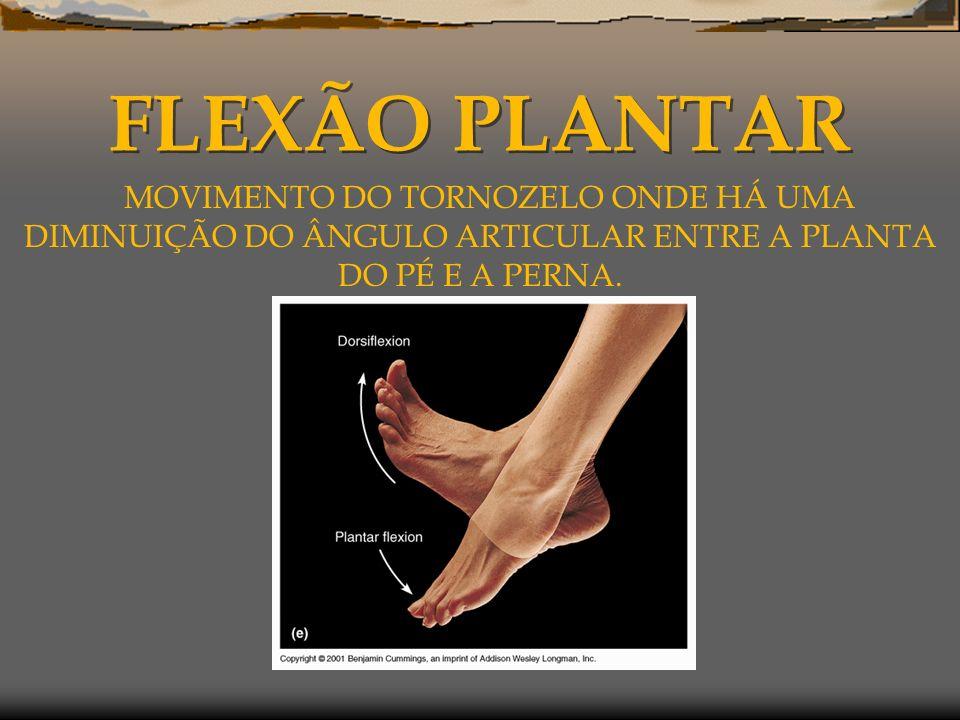 FLEXÃO PLANTAR MOVIMENTO DO TORNOZELO ONDE HÁ UMA DIMINUIÇÃO DO ÂNGULO ARTICULAR ENTRE A PLANTA DO PÉ E A PERNA.