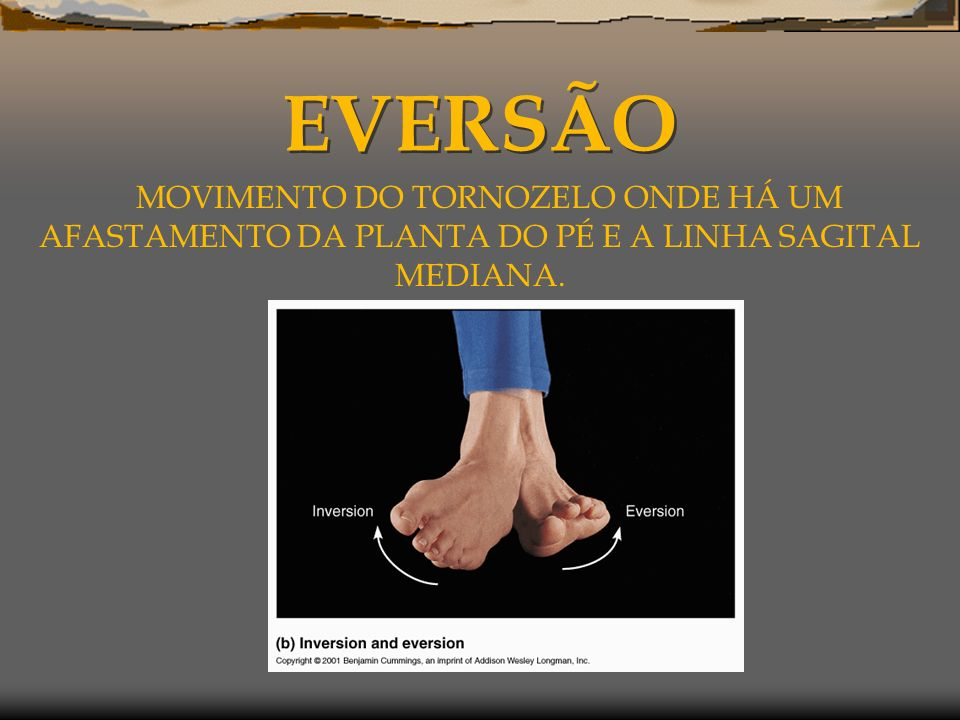 EVERSÃO MOVIMENTO DO TORNOZELO ONDE HÁ UM AFASTAMENTO DA PLANTA DO PÉ E A LINHA SAGITAL MEDIANA.