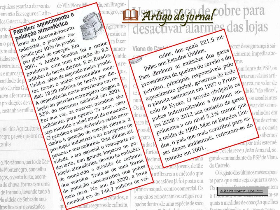  Artigo de jornal  In Meio ambiente, Junho 2003