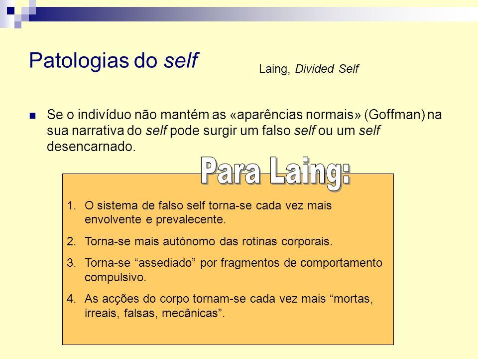 Para Laing: Patologias do self