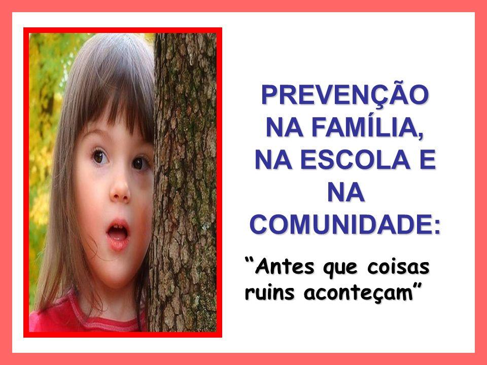 PREVENÇÃO NA FAMÍLIA, NA ESCOLA E NA COMUNIDADE:
