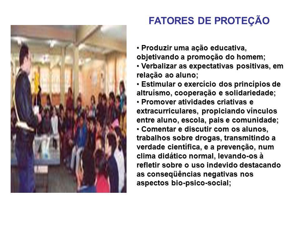 FATORES DE PROTEÇÃO Produzir uma ação educativa, objetivando a promoção do homem; Verbalizar as expectativas positivas, em relação ao aluno;