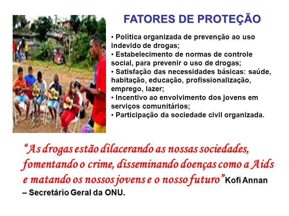 FATORES DE PROTEÇÃO Política organizada de prevenção ao uso indevido de drogas;