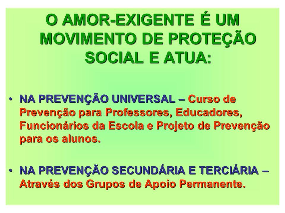 O AMOR-EXIGENTE É UM MOVIMENTO DE PROTEÇÃO SOCIAL E ATUA:
