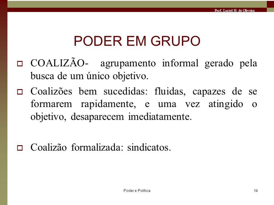 PODER EM GRUPO COALIZÃO- agrupamento informal gerado pela busca de um único objetivo.
