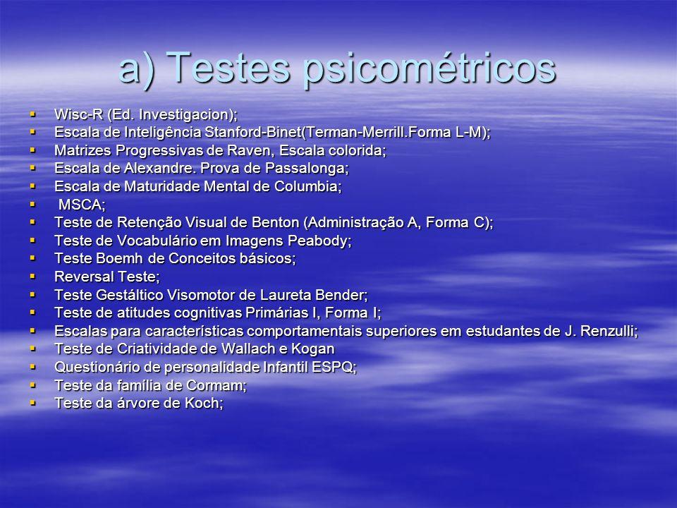 a) Testes psicométricos