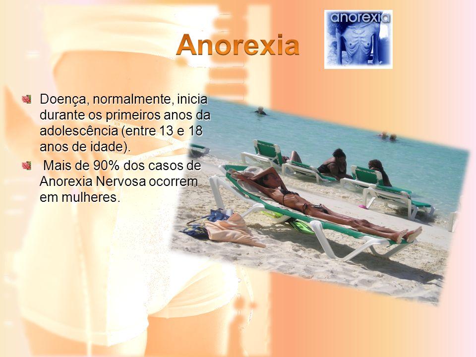 Anorexia Doença, normalmente, inicia durante os primeiros anos da adolescência (entre 13 e 18 anos de idade).