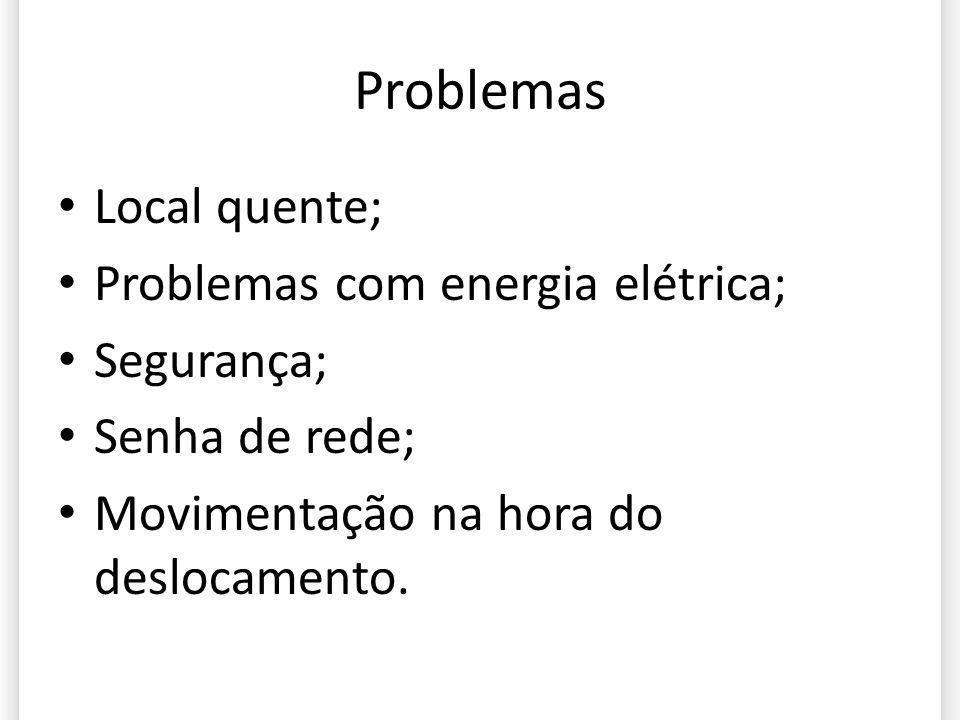 Problemas Local quente; Problemas com energia elétrica; Segurança;