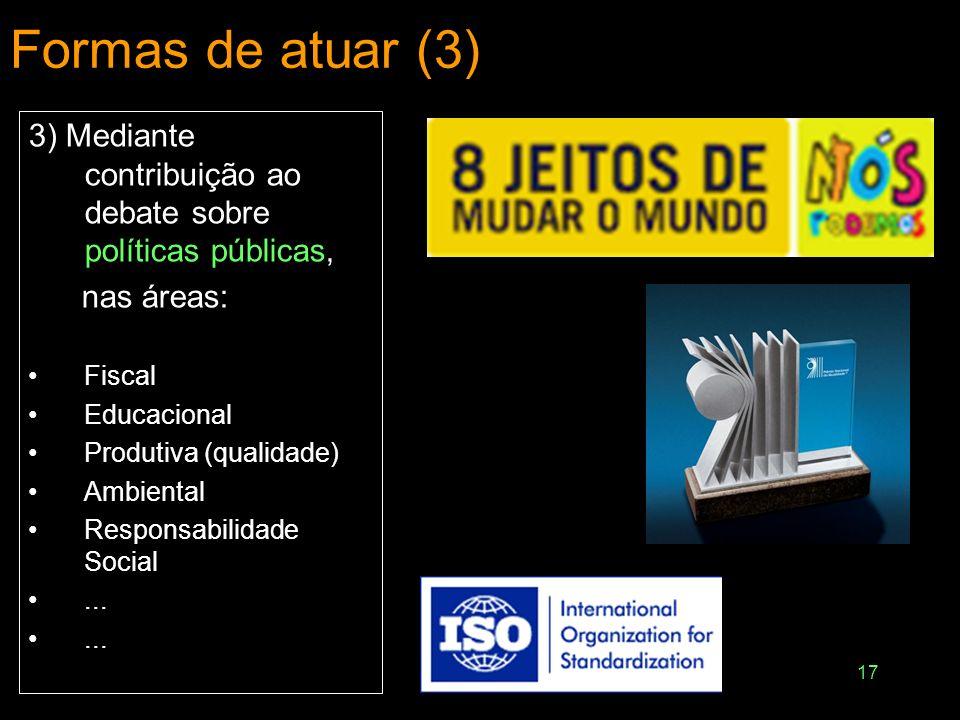 Formas de atuar (3) 3) Mediante contribuição ao debate sobre políticas públicas, nas áreas: Fiscal.