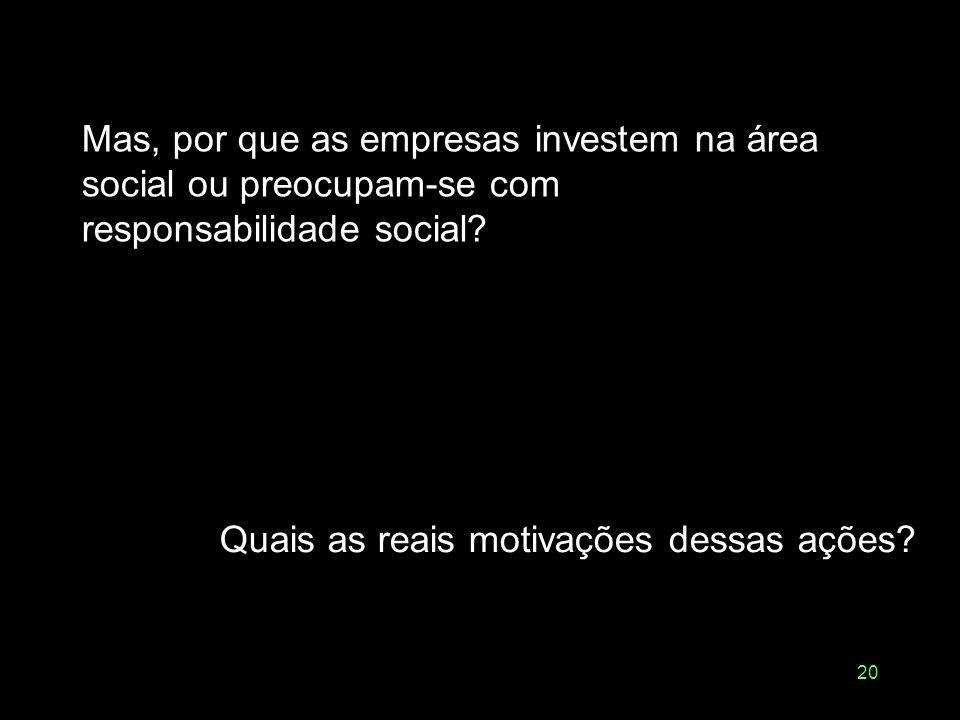Mas, por que as empresas investem na área social ou preocupam-se com responsabilidade social