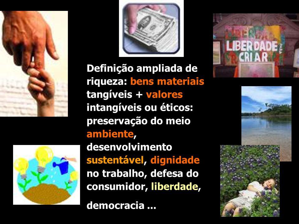 Definição ampliada de riqueza: bens materiais tangíveis + valores intangíveis ou éticos: preservação do meio ambiente, desenvolvimento sustentável, dignidade no trabalho, defesa do consumidor, liberdade,