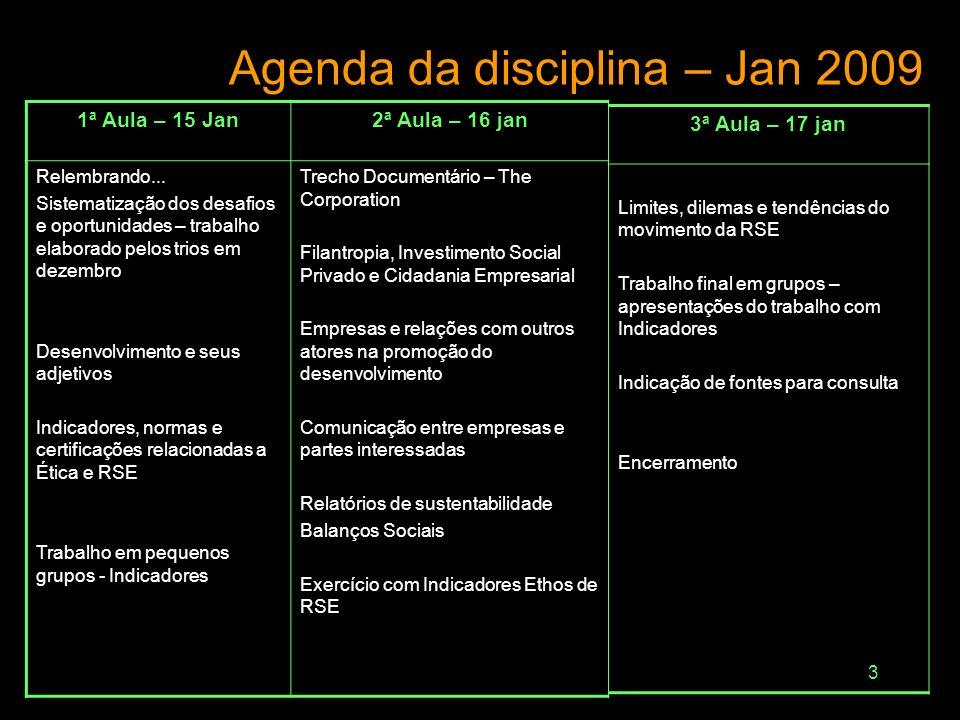 Agenda da disciplina – Jan 2009