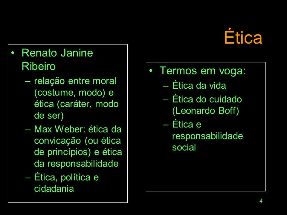 Ética Renato Janine Ribeiro Termos em voga: