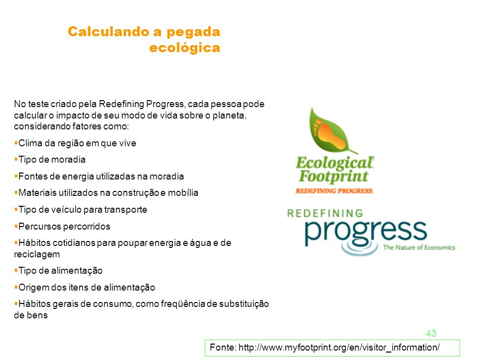 Calculando a pegada ecológica