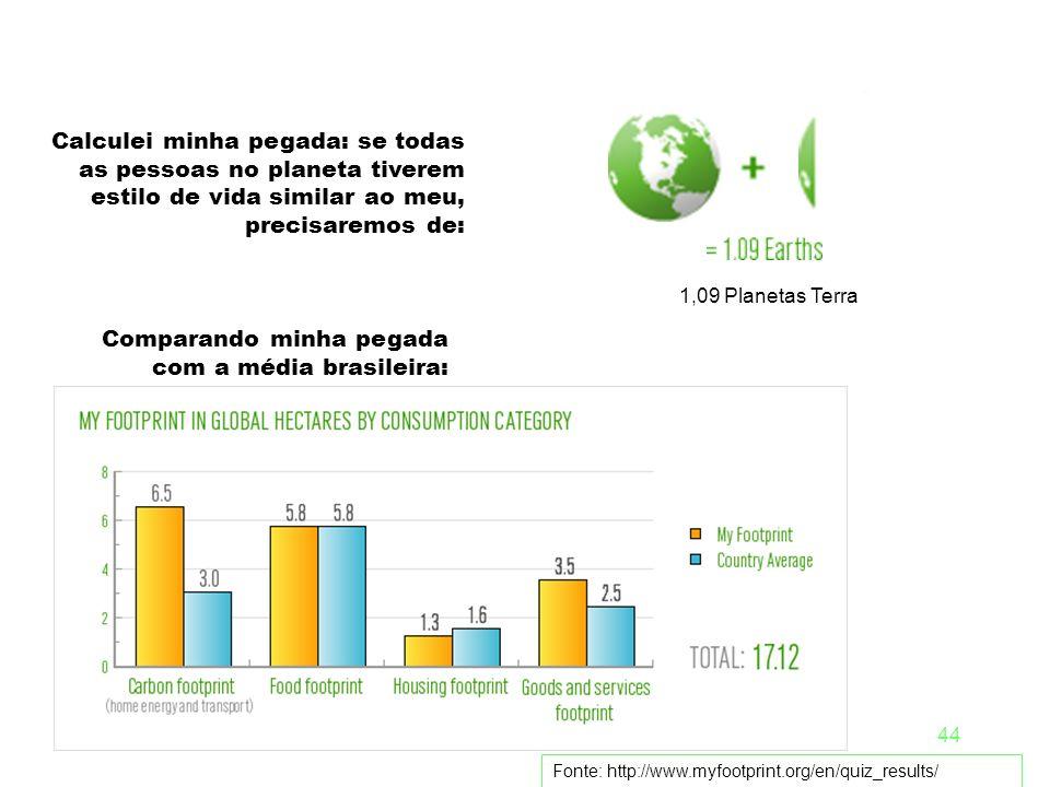 Comparando minha pegada com a média brasileira: