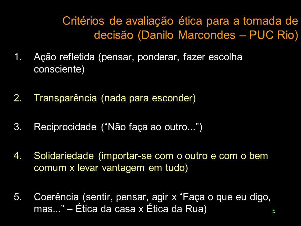 Critérios de avaliação ética para a tomada de decisão (Danilo Marcondes – PUC Rio)