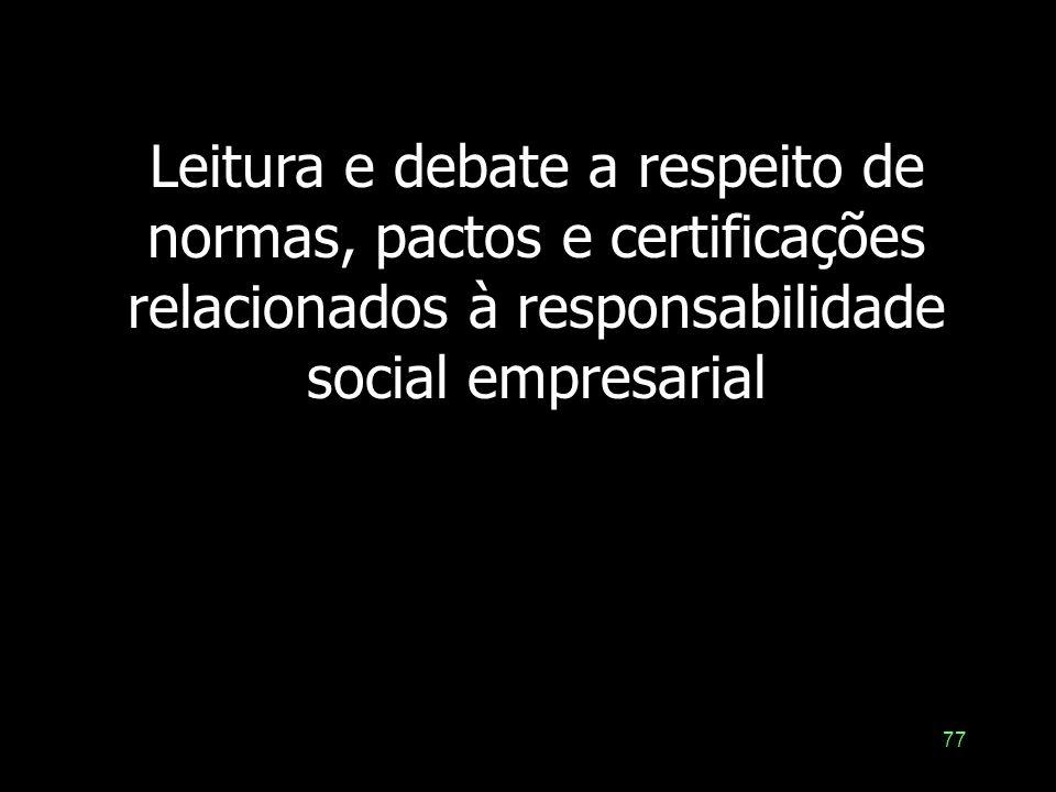 Leitura e debate a respeito de normas, pactos e certificações relacionados à responsabilidade social empresarial