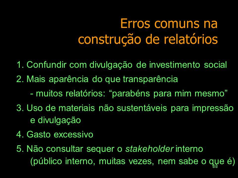 Erros comuns na construção de relatórios