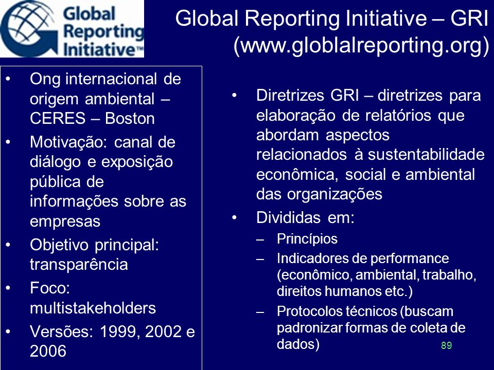 Global Reporting Initiative – GRI (www.globlalreporting.org)