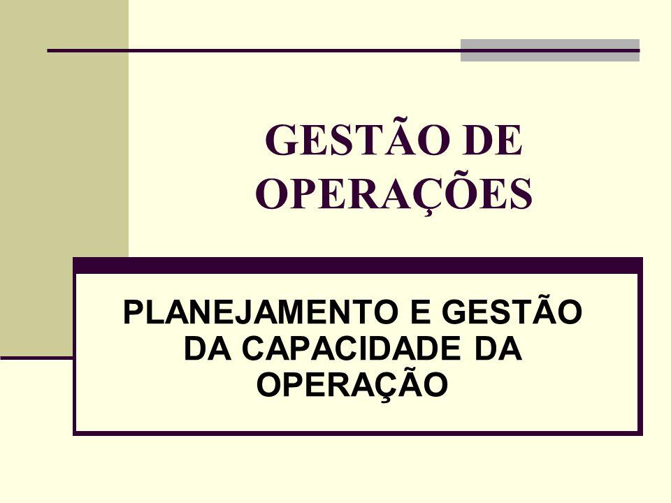 PLANEJAMENTO E GESTÃO DA CAPACIDADE DA OPERAÇÃO