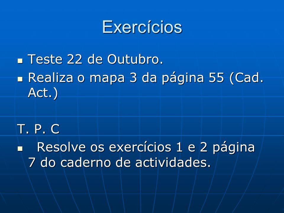 Exercícios Teste 22 de Outubro.