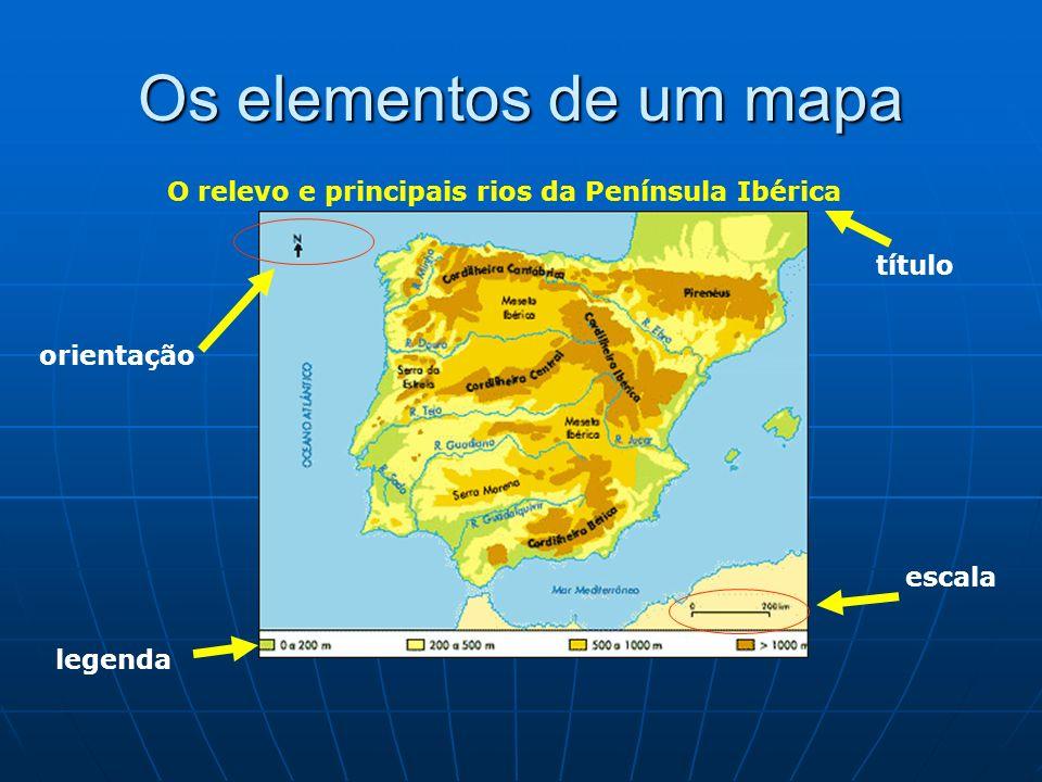 O relevo e principais rios da Península Ibérica
