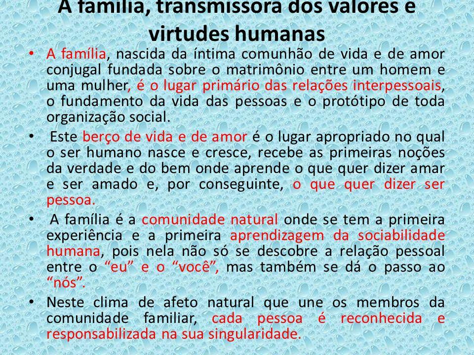 A família, transmissora dos valores e virtudes humanas