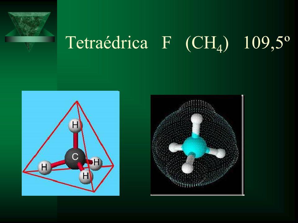 Tetraédrica F (CH4) 109,5º