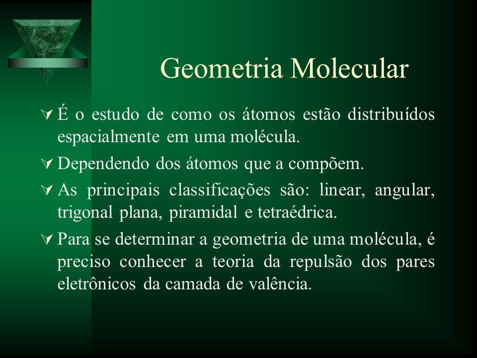 Geometria Molecular É o estudo de como os átomos estão distribuídos espacialmente em uma molécula. Dependendo dos átomos que a compõem.