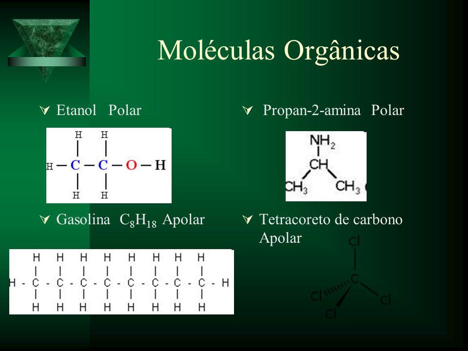Moléculas Orgânicas Etanol Polar Propan-2-amina Polar