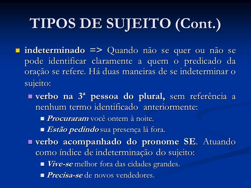 TIPOS DE SUJEITO (Cont.)