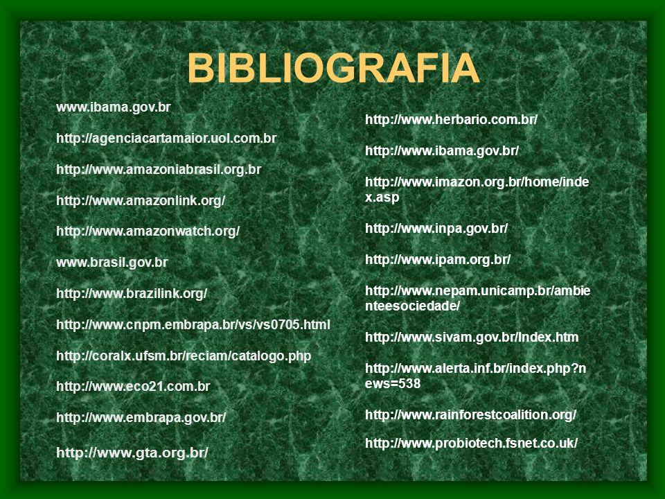 BIBLIOGRAFIA http://www.gta.org.br/ www.ibama.gov.br