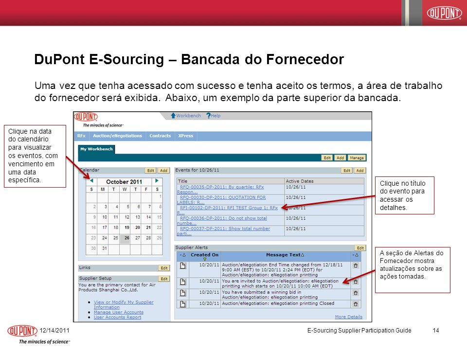 DuPont E-Sourcing – Bancada do Fornecedor