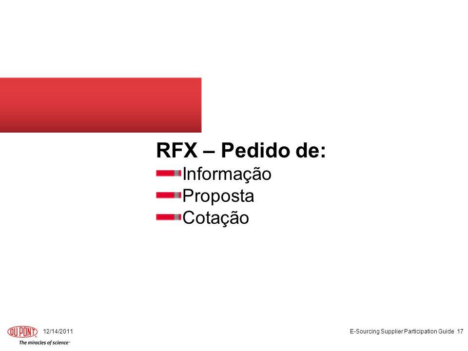RFX – Pedido de: Informação Proposta Cotação 12/14/2011