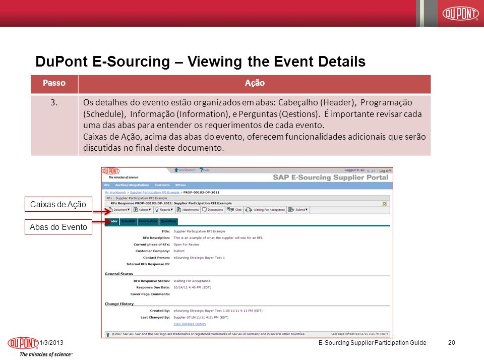 DuPont E-Sourcing – Viewing the Event Details